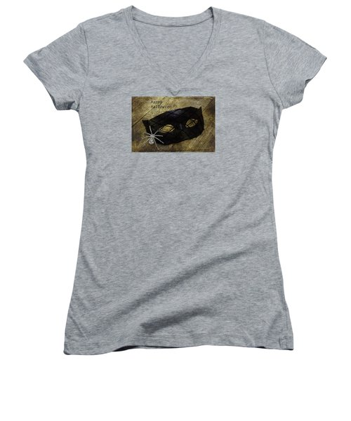 Happy Halloween Women's V-Neck T-Shirt (Junior Cut) by Patrice Zinck