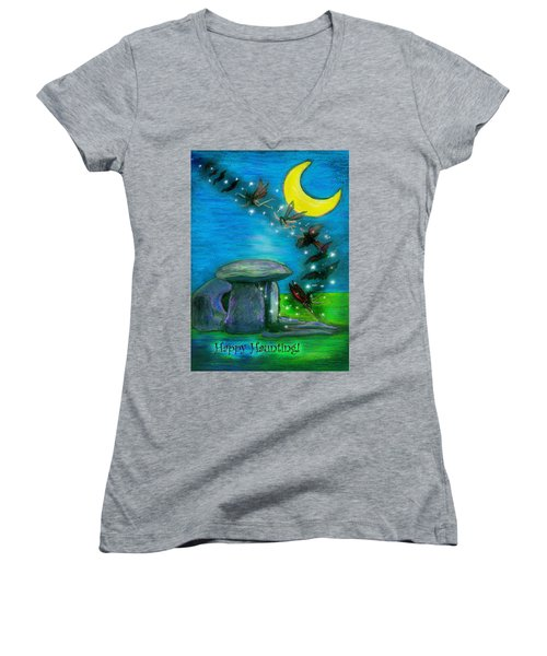 Happy Haunting Women's V-Neck T-Shirt (Junior Cut) by Diana Haronis