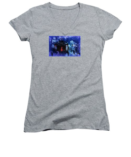Women's V-Neck T-Shirt (Junior Cut) featuring the digital art Happy Holiday Little Chapel On The Hill by Sherri  Of Palm Springs