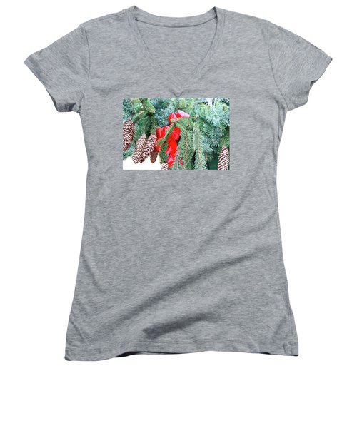 Women's V-Neck T-Shirt (Junior Cut) featuring the photograph Happy Holidays by Ann Murphy