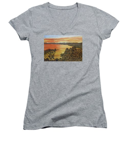 Women's V-Neck T-Shirt featuring the painting Happy Hour by Joel Deutsch