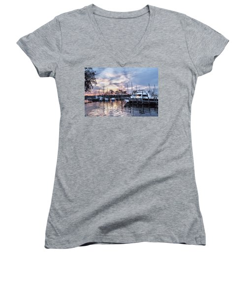 Happy Hour Sunset At Bluewater Bay Marina, Florida Women's V-Neck