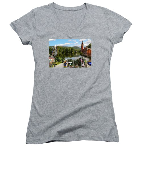 Happy In Easthampton Collage Women's V-Neck