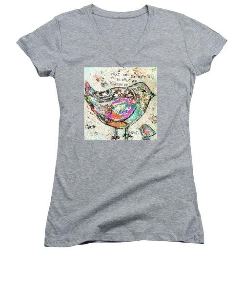 Happy Women's V-Neck T-Shirt (Junior Cut) by Kirsten Reed