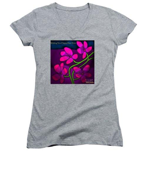 Happy New Year Women's V-Neck T-Shirt (Junior Cut) by Latha Gokuldas Panicker