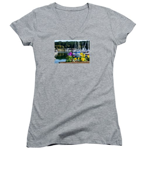 Happy Pansy Women's V-Neck T-Shirt (Junior Cut) by Tanya  Searcy