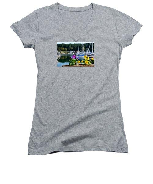 Happy Pansy Women's V-Neck T-Shirt