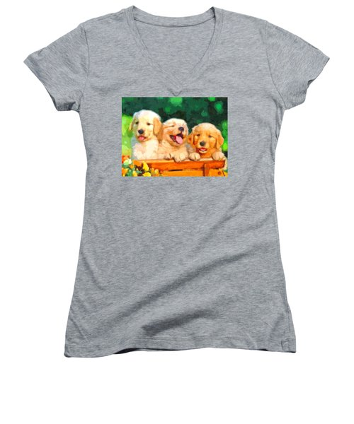 Happy Puppies Women's V-Neck (Athletic Fit)