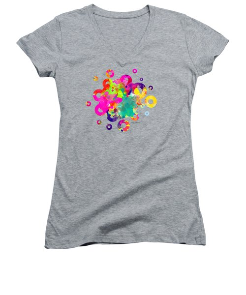 Happy Rings - Tee Shirt Design Women's V-Neck T-Shirt (Junior Cut) by Debbie Portwood