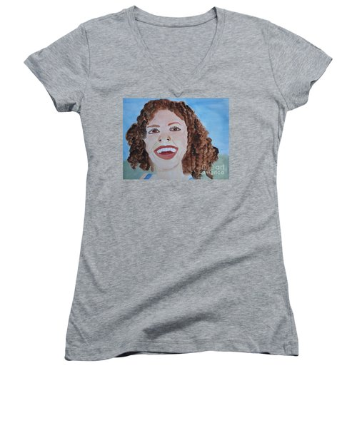Women's V-Neck T-Shirt (Junior Cut) featuring the painting Happy by Sandy McIntire