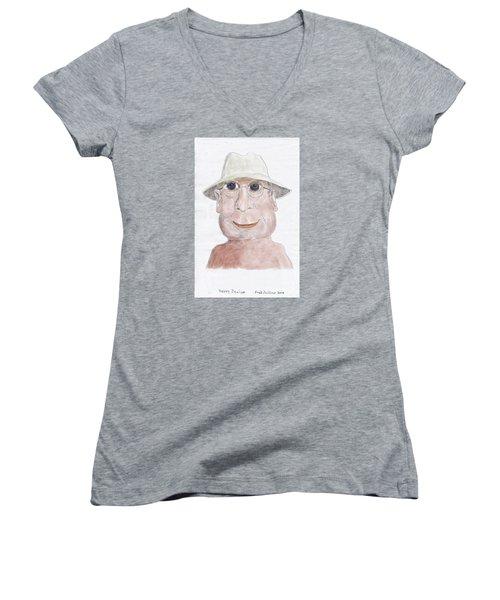 Happy Senior Women's V-Neck T-Shirt (Junior Cut) by Fred Jinkins