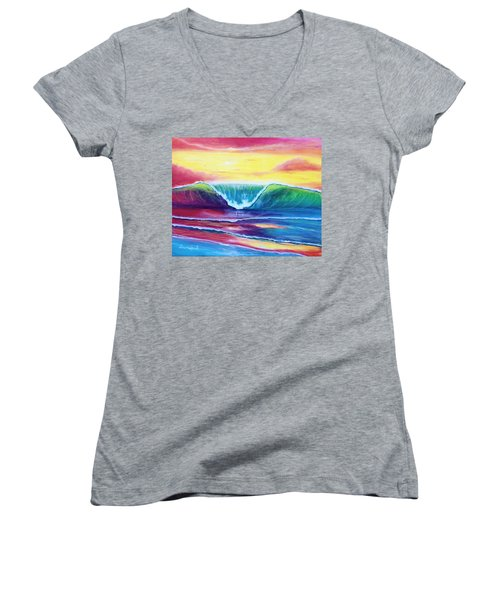 Happy Wave Women's V-Neck (Athletic Fit)
