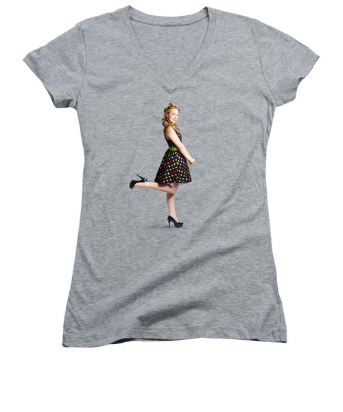 Happy Woman In Retro Dress Women's V-Neck (Athletic Fit)