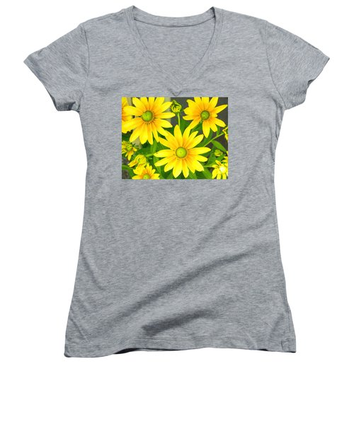 Happy Yellow Summer Cone Flowers In The Garden Women's V-Neck T-Shirt