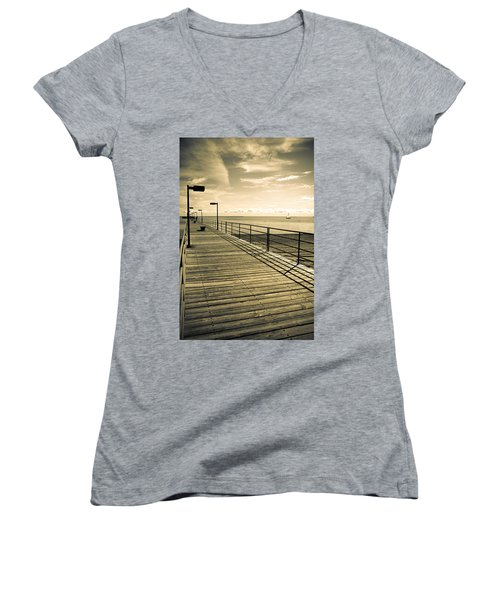 Harbor Beach Michigan Boardwalk Women's V-Neck T-Shirt