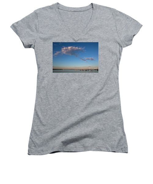 Harbor In Lincolnville,maine Women's V-Neck T-Shirt (Junior Cut) by Diane Diederich