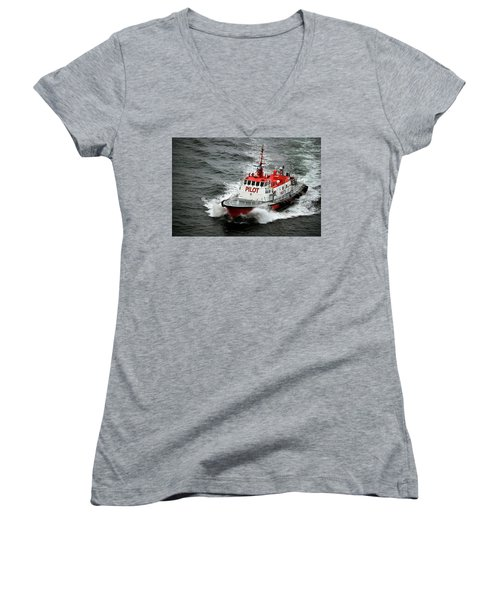Harbor Master Pilot Women's V-Neck T-Shirt (Junior Cut) by Allen Carroll
