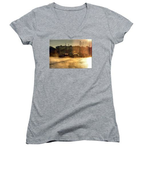 Women's V-Neck T-Shirt (Junior Cut) featuring the photograph Harbor Mist by Brian Wallace