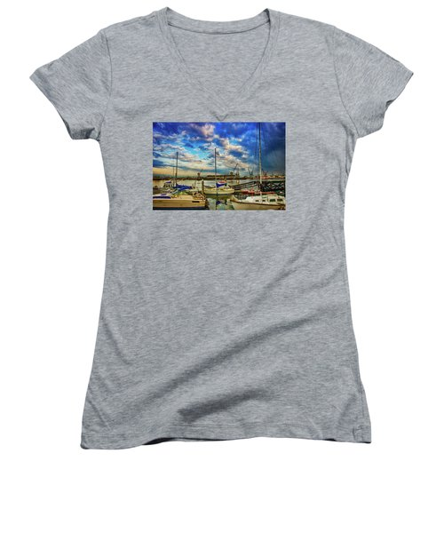 Harbor Scene Women's V-Neck (Athletic Fit)