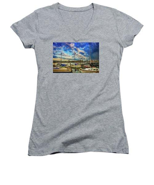 Harbor Scene Women's V-Neck T-Shirt