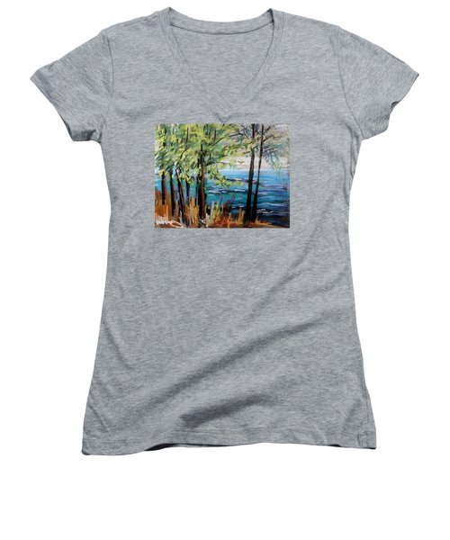 Women's V-Neck T-Shirt (Junior Cut) featuring the painting Harbor Trees by John Williams