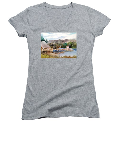 Harbour Scene Women's V-Neck T-Shirt (Junior Cut) by Larry Hamilton
