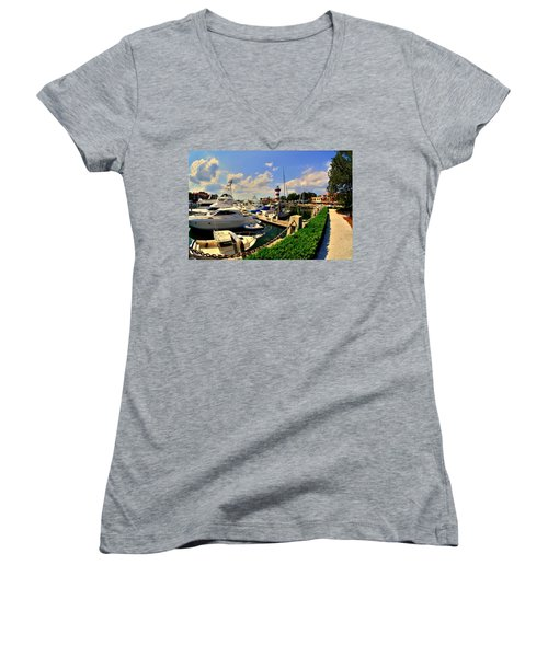 Harbour Town Marina Sea Pines Resort Hilton Head Sc Women's V-Neck