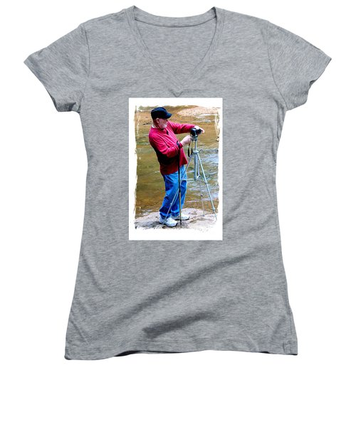 Hard At Work Women's V-Neck T-Shirt (Junior Cut) by Marilyn Carlyle Greiner
