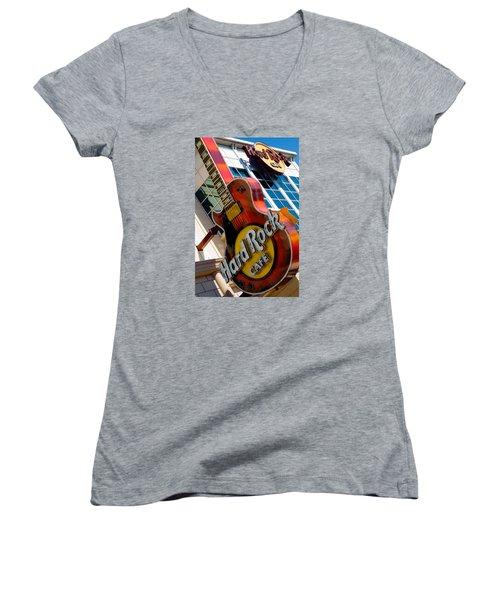 Hard Rock Cafe Niagara Women's V-Neck T-Shirt (Junior Cut) by Bob Pardue