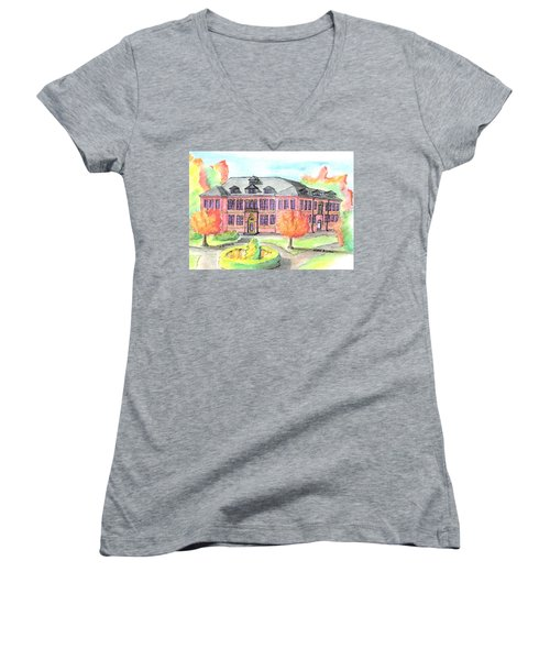 Hardie Building Beverly Women's V-Neck T-Shirt (Junior Cut) by Paul Meinerth