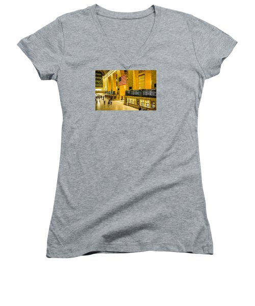Women's V-Neck T-Shirt (Junior Cut) featuring the photograph Grand Central Pride by M G Whittingham