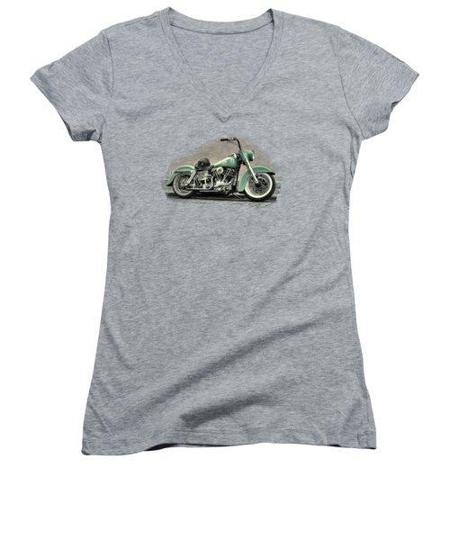 Harley Davidson Classic  Women's V-Neck T-Shirt (Junior Cut) by Movie Poster Prints