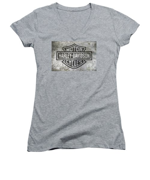 Harley Davidson Logo On Metal Women's V-Neck T-Shirt (Junior Cut) by Randy Steele