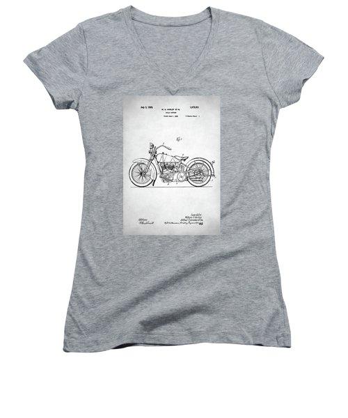 Women's V-Neck T-Shirt (Junior Cut) featuring the digital art Harley Davidson Patent by Taylan Apukovska
