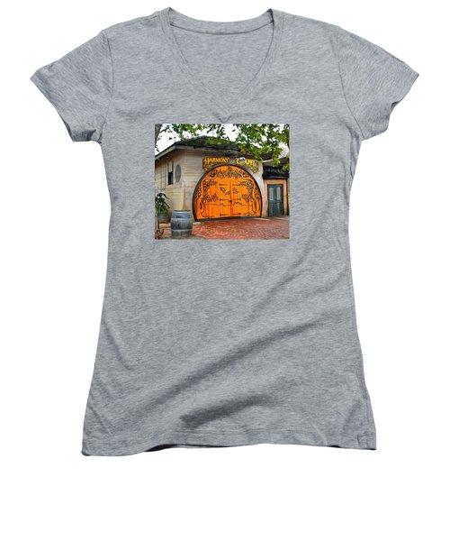 Women's V-Neck T-Shirt (Junior Cut) featuring the photograph Harmony Chapel Harmony California by Barbara Snyder