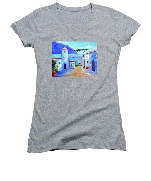 Harmony Of Como Women's V-Neck T-Shirt (Junior Cut) by Larry Cirigliano