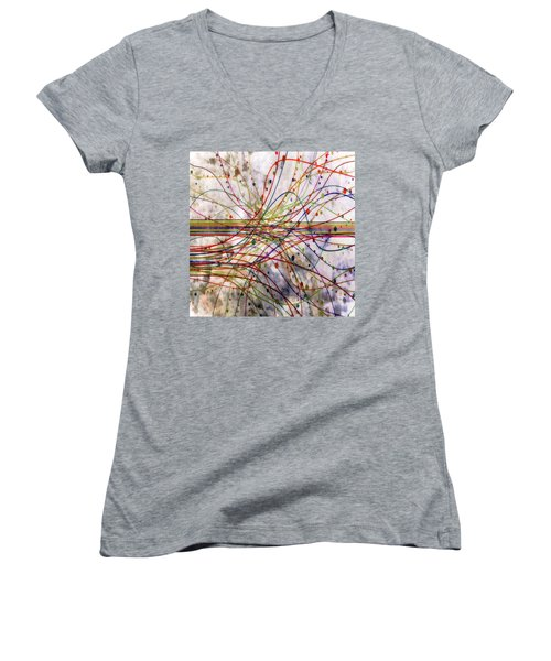 Women's V-Neck T-Shirt (Junior Cut) featuring the digital art Harnessing Energy 1 by Angelina Vick