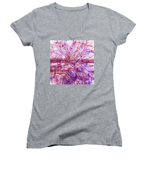 Women's V-Neck T-Shirt (Junior Cut) featuring the digital art Harnessing Energy 2 by Angelina Vick