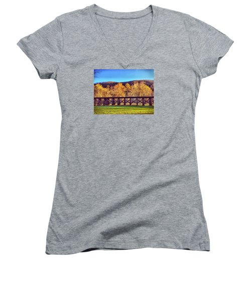 Harpers Ferry Train Tracks Women's V-Neck (Athletic Fit)