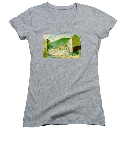 Harpers Ferry West Virginia 1873 Women's V-Neck T-Shirt (Junior Cut) by Padre Art