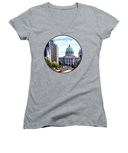 Harrisburg Pa - Capitol Building Seen From State Street Women's V-Neck T-Shirt (Junior Cut) by Susan Savad