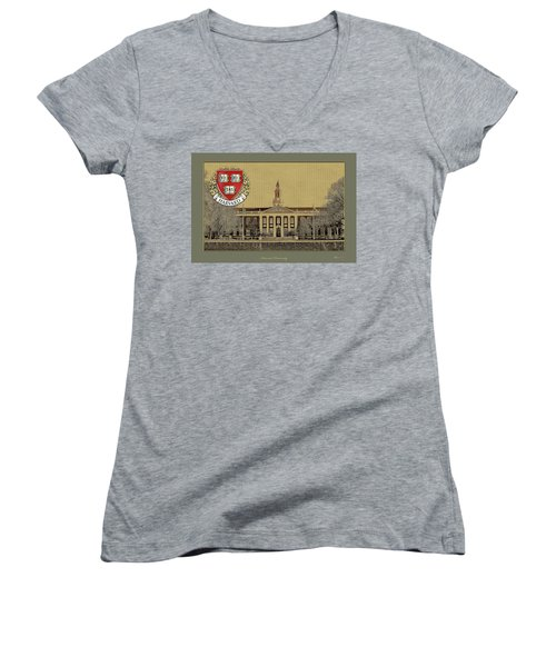 Harvard University Building Overlaid With 3d Coat Of Arms Women's V-Neck (Athletic Fit)
