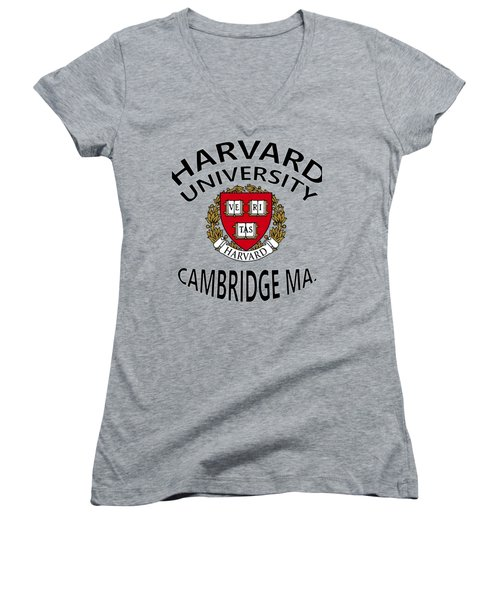 Harvard University Cambridge M A  Women's V-Neck T-Shirt (Junior Cut) by Movie Poster Prints
