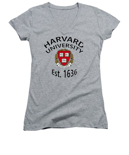 Women's V-Neck T-Shirt (Junior Cut) featuring the digital art Harvard University Est 1636 by Movie Poster Prints