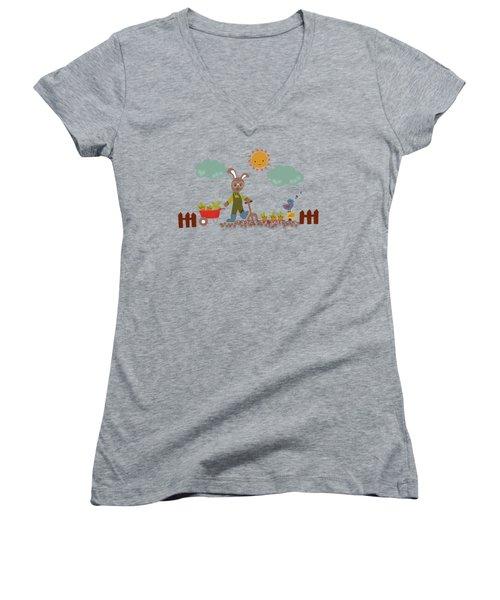 Harvest Time Women's V-Neck T-Shirt (Junior Cut) by Kathrin Legg