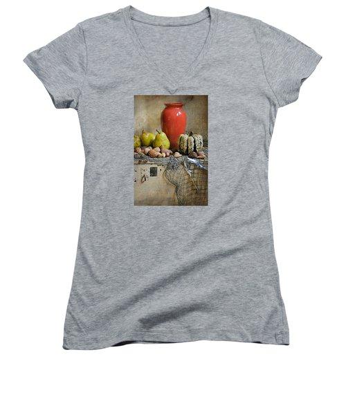 Harvest Vase Women's V-Neck T-Shirt (Junior Cut) by Diana Angstadt
