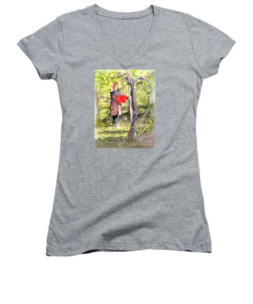 Women's V-Neck T-Shirt (Junior Cut) featuring the painting Harvesting Anna's Grapes by Bonnie Rinier