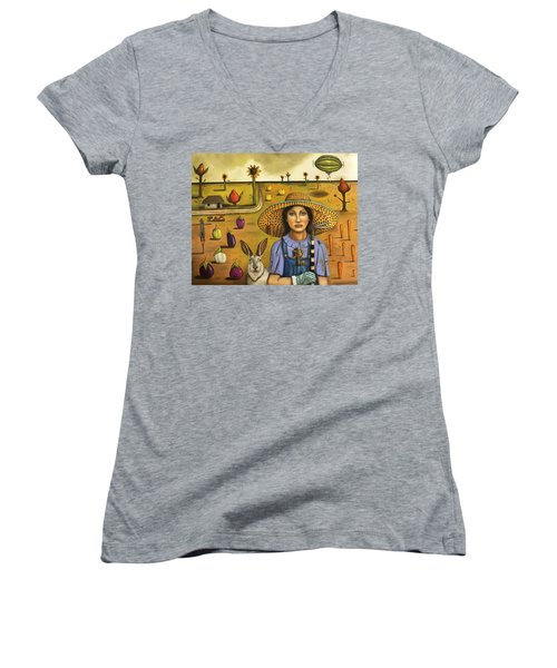 Harvey And The Eccentric Farmer Women's V-Neck T-Shirt (Junior Cut) by Leah Saulnier The Painting Maniac