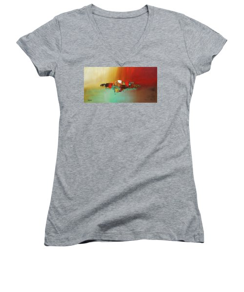 Women's V-Neck T-Shirt (Junior Cut) featuring the painting Hashtag Happy - Abstract Art by Carmen Guedez
