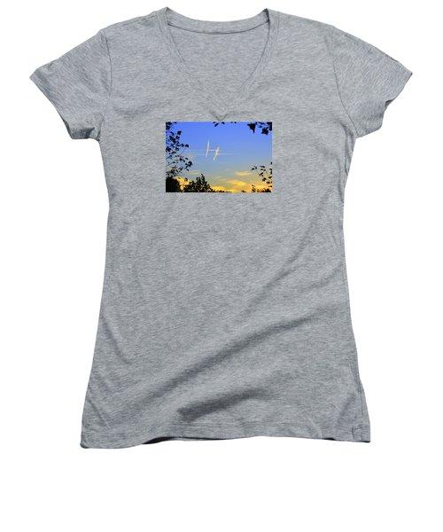 Hashtag Sky Women's V-Neck T-Shirt (Junior Cut) by Lew Davis